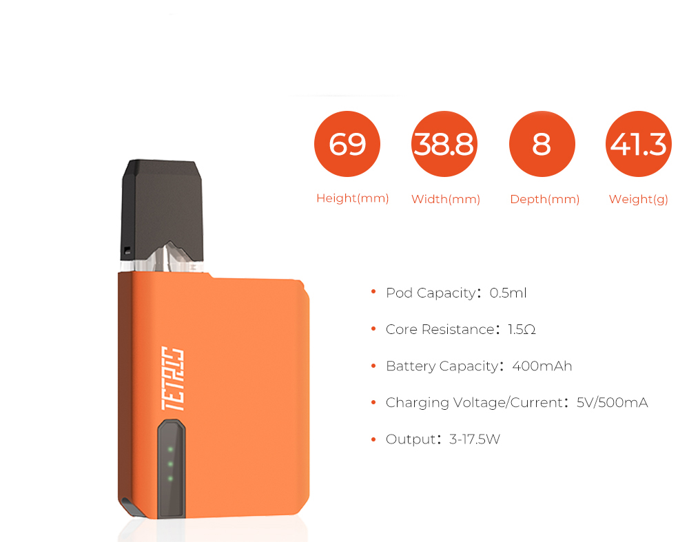 Parameters of Pomp Tetris Pod System Kit 400mAh
